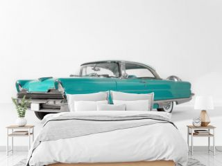 old green, classic vintage car on white isolated background