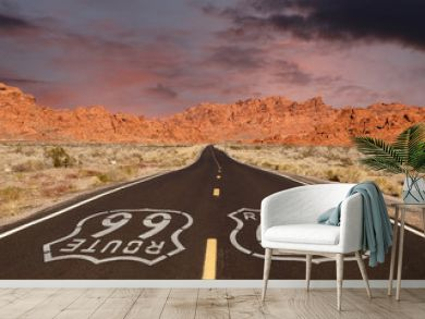 Route 66 Pavement Sign with Red Rock Mountain Sunset