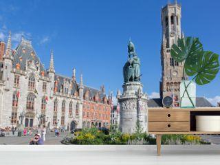 Brugge - Grote markt with the Belfort van Brugge