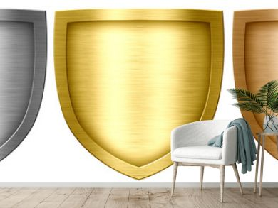 Metal shield collection isolated on white background