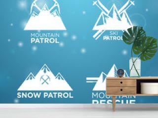 logotype ski, mounrain and snow patrol with mounrain rescue