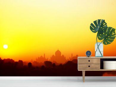 Taj Mahal at sunset in India