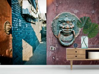 brass lion head door knockers in hutong area in Beijing, China