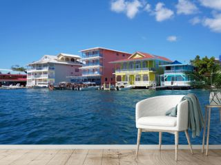 Colorful Caribbean buildings over the water