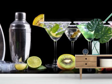 alcohol cocktail set with summer fruits