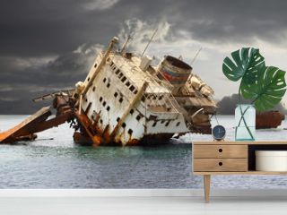Stranded shipwreck.