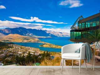 Cityscape of queenstown with lake Wakatipu from top, new zealand