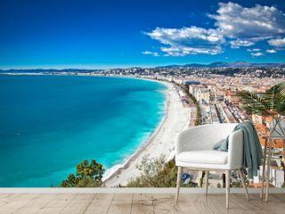Panoramic view of Nice coastline and beach, France.