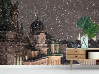 Vienna rooftops cityscape with snow