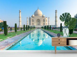 The morning view of Taj Mahal monument