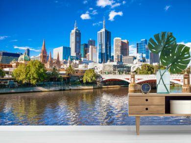 Melbourne skyline looking towards Flinders Street Station