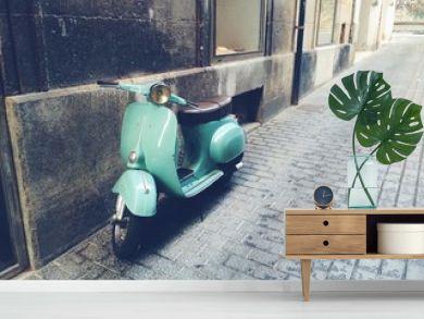 old, mint vintage motor scooter in Palma de Mallorca
