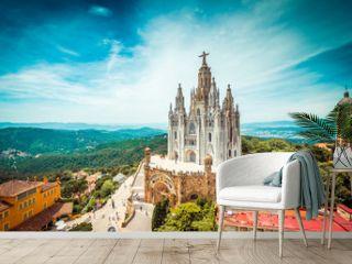 Tibidabo church on mountain in Barcelona