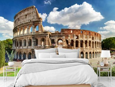 Colosseum or Coliseum in Rome, Italy. Famous ancient Roman monument, world landmark.