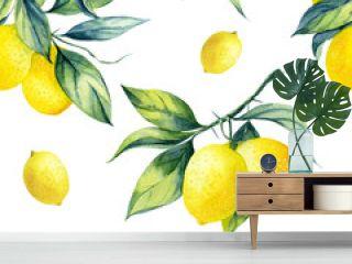 A seamless lemon pattern on white background.