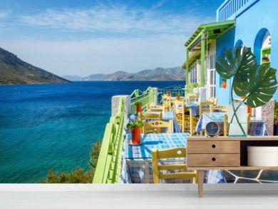 Typical Greek restaurant on the balcony, Greece