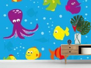 Underwater scene with colorful fish and octopus