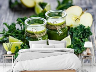 Fresh kale juice with apples and limes