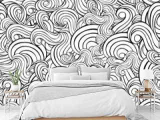 Seamless abstract hand-drawn waves pattern, wavy background