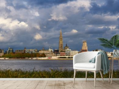 Evening cloudy panorama of the City of Antwerp