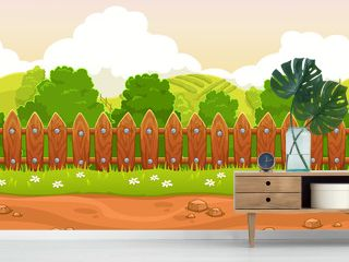 Seamless cartoon country landscape
