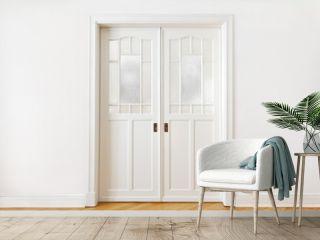 White wall door double sliding
