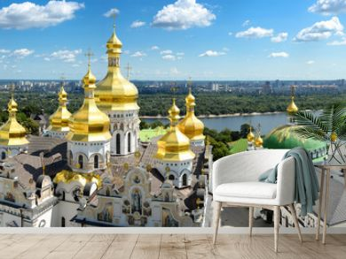Panorama of Assumption Church/Panorama of Assumption Church, Lavra and on background of blue sky, clouds and Dnieper river, Kiev, Ukraine