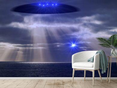 Ufo mit Lichtwesen schickt einen Boten über den Ozean