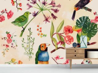 A seamless watercolor pattern of drawings of exotic birds and flowers