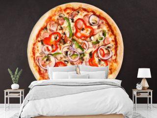 Tasty Italian pizza with mushrooms pepper onion sausage