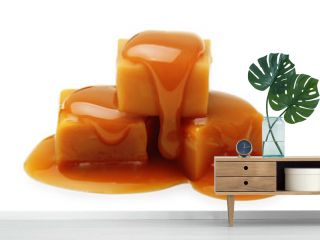 Caramel toffee and sauce isolated