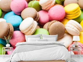 traditional french colorful macarons in a box, background