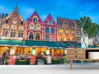 Beautiful night in Market Square, Bruges - Belgium