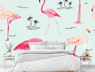 Flamingo Bird Background - Retro seamless pattern