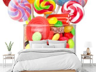 glass jar full of candy and lollipops