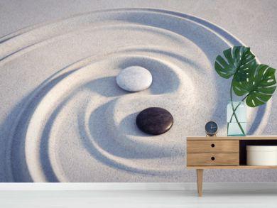 Yin Yang Motiv  - Steine im Sand