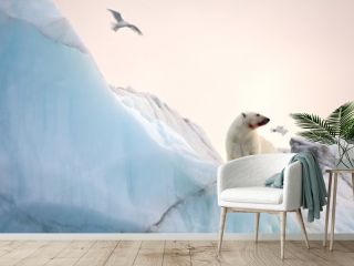 Polar bear and ivory gull in natural environment