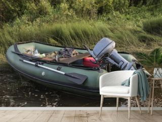 Inflatable boat with motor
