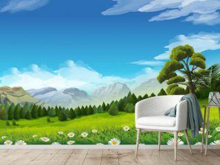 Spring landscape, vector background