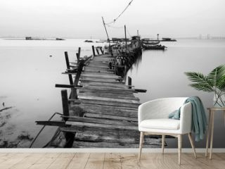 Black and white wooden jetty