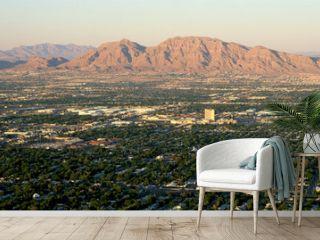 Panoramic view of Las Vegas Nevada Gambling City at sunset