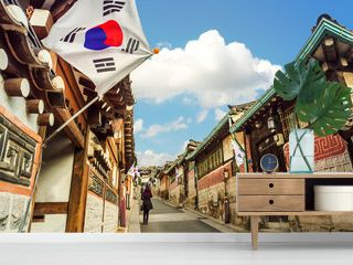 Bukchon Hanok Village in Seoul, South Korea.