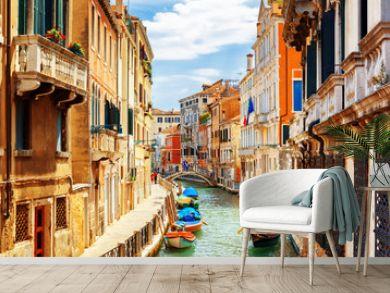 View of the Rio Marin Canal from the Ponte de la Bergami. Venice