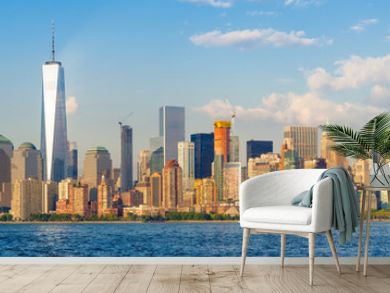 High resolution panoramic view of the downtown New York City skyline seen from the ocean