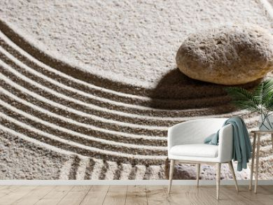zen sand still-life - two pebbles for concept of dead end or imagination with peace and elevation