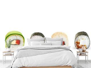 Sushi rolls isolated on white background.