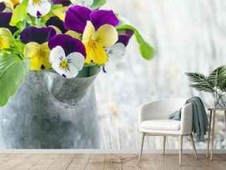 Violet pansies bouquet