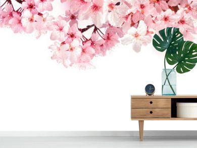 Verträumte Kirschblüten als Bordüre auf weißem Hintergrund