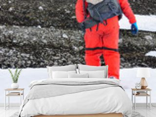 Researcher on the landscape of the Antarctica, South pole