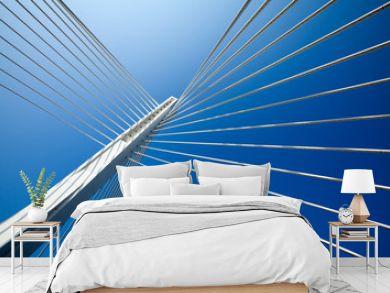 Wonderful white bridge structure over clear blue sky